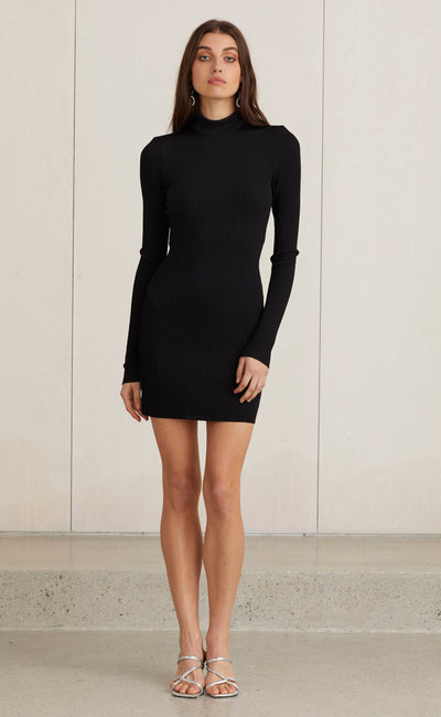 DARK INSTINCT MINI DRESS - BLACK