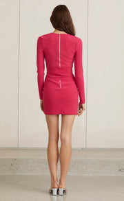 VALENTINE L/S MINI DRESS - HOT PINK