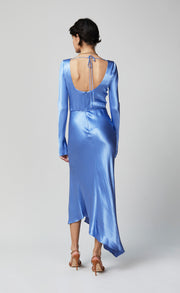 DELPHINE LONG SLEEVE MIDI DRESS - CORNFLOWER