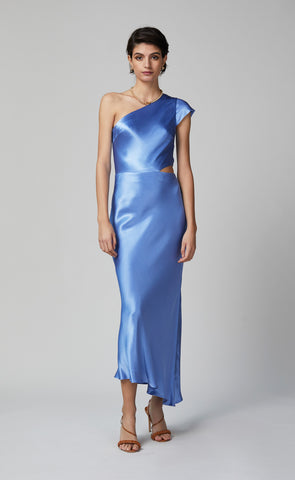 DELPHINE ASYM MIDI DRESS - CORNFLOWER
