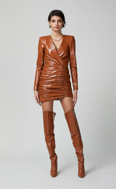 BABETTE LONG SLEEVE MINI DRESS - TOFFEE