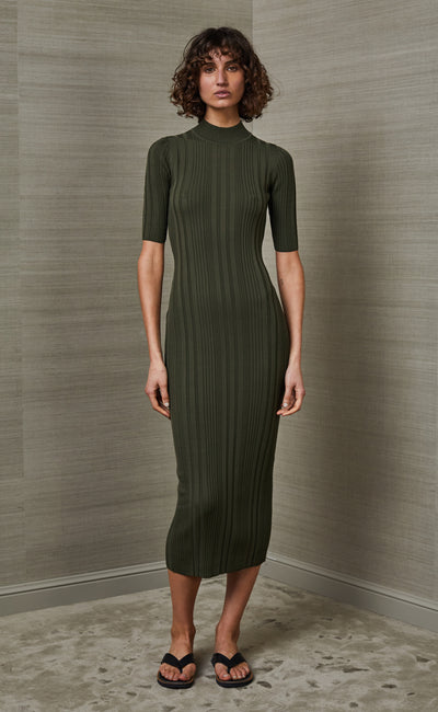 ESME KNIT MIDI DRESS - OLIVE