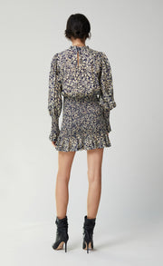 EMMANUELLE LONG SLEEVE MINI DRESS - INK PRINT