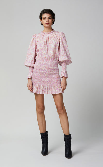 EMMANUELLE LONG SLEEVE MINI DRESS - PINK PRINT