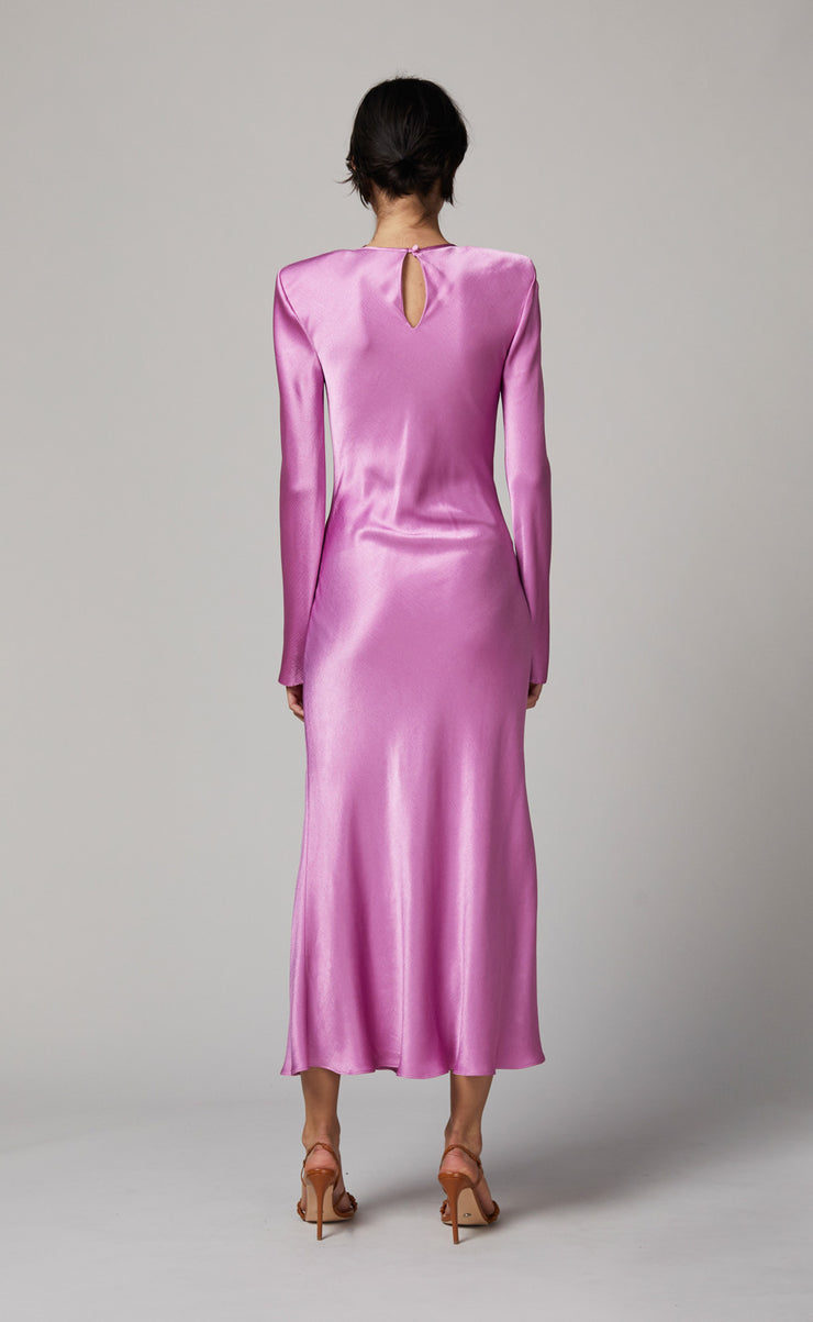 LUCIE LONG SLEEVE MIDI DRESS - FUCHSIA