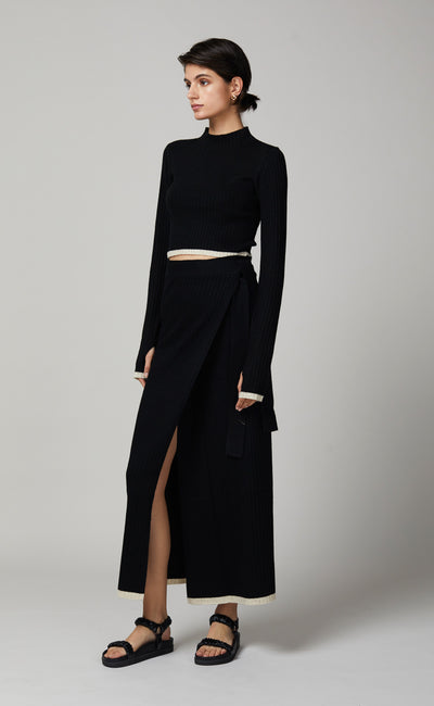 SINCLAIR WRAP SKIRT - BLACK