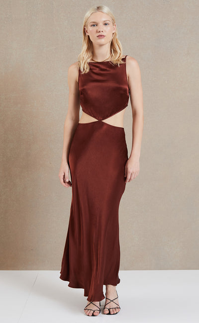 CAMILA CUT OUT MAXI DRESS - CHERRY