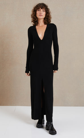FREYA LONG SLEEVE KNIT MAXI DRESS - BLACK
