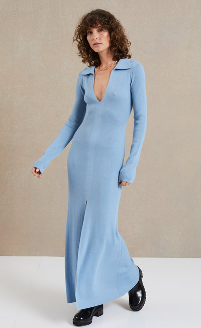 FREYA LONG SLEEVE KNIT MAXI DRESS - SKY BLUE