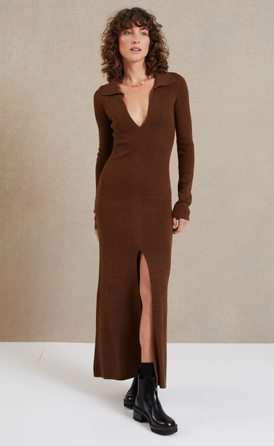 FREYA LONG SLEEVE KNIT MAXI DRESS - CHOCOLATE