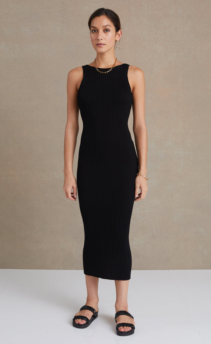 LYLA KNIT MIDI DRESS - BLACK