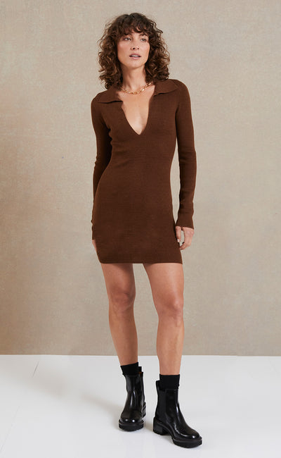 FREYA LONG SLEEVE KNIT POLO DRESS - CHOCOLATE