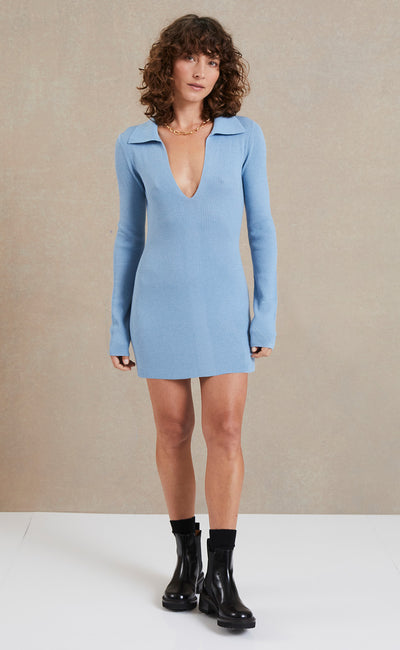 FREYA LONG SLEEVE KNIT POLO DRESS - SKY BLUE