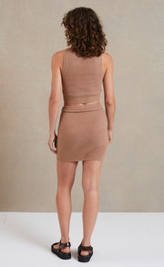 CECILE KNIT MINI SKIRT - MOCHA