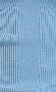 FREYA KNIT LONG SLEEVE POLO TOP - SKY BLUE