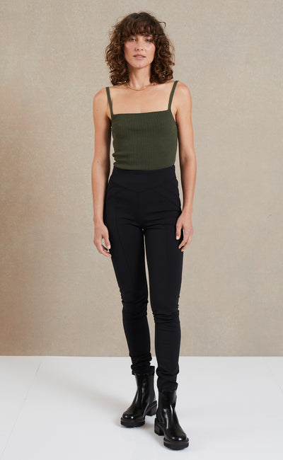 RIVIERA KNIT TANK TOP - ARMY
