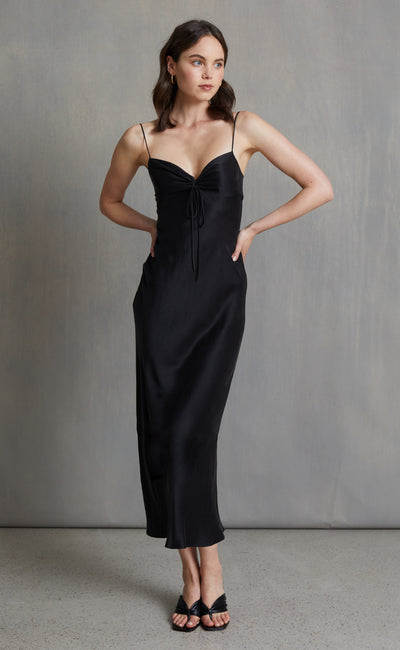 CLASSIC SILK TIE MIDI DRESS - BLACK