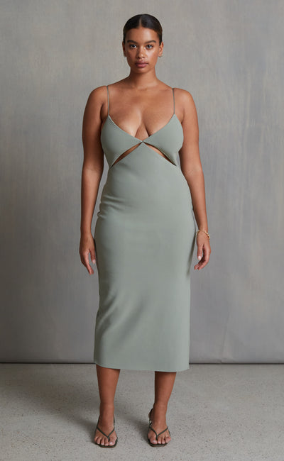 BE MINE CUT OUT MIDI DRESS - SAGE
