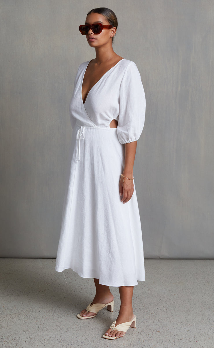 HATTIE MIDI DRESS - IVORY