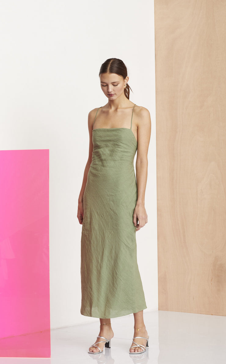 THE DREAMER MIDI DRESS - KHAKI