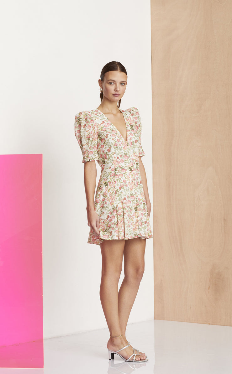 LE FOLLIES MINI DRESS - CAMELLIA PRINT