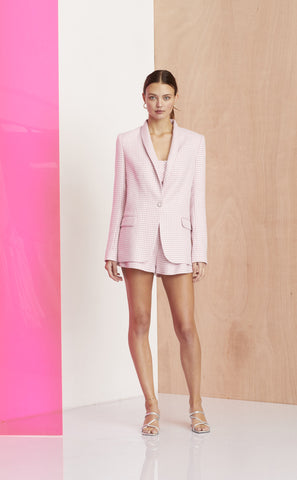 CHECK YOU LATER BLAZER - PINK HOUNDSTOOTH