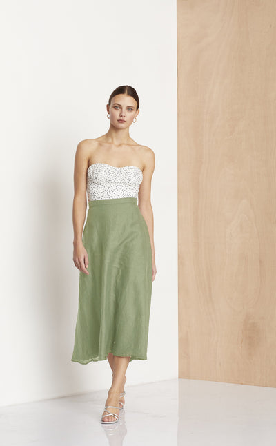 THE DREAMER MIDI SKIRT - KHAKI