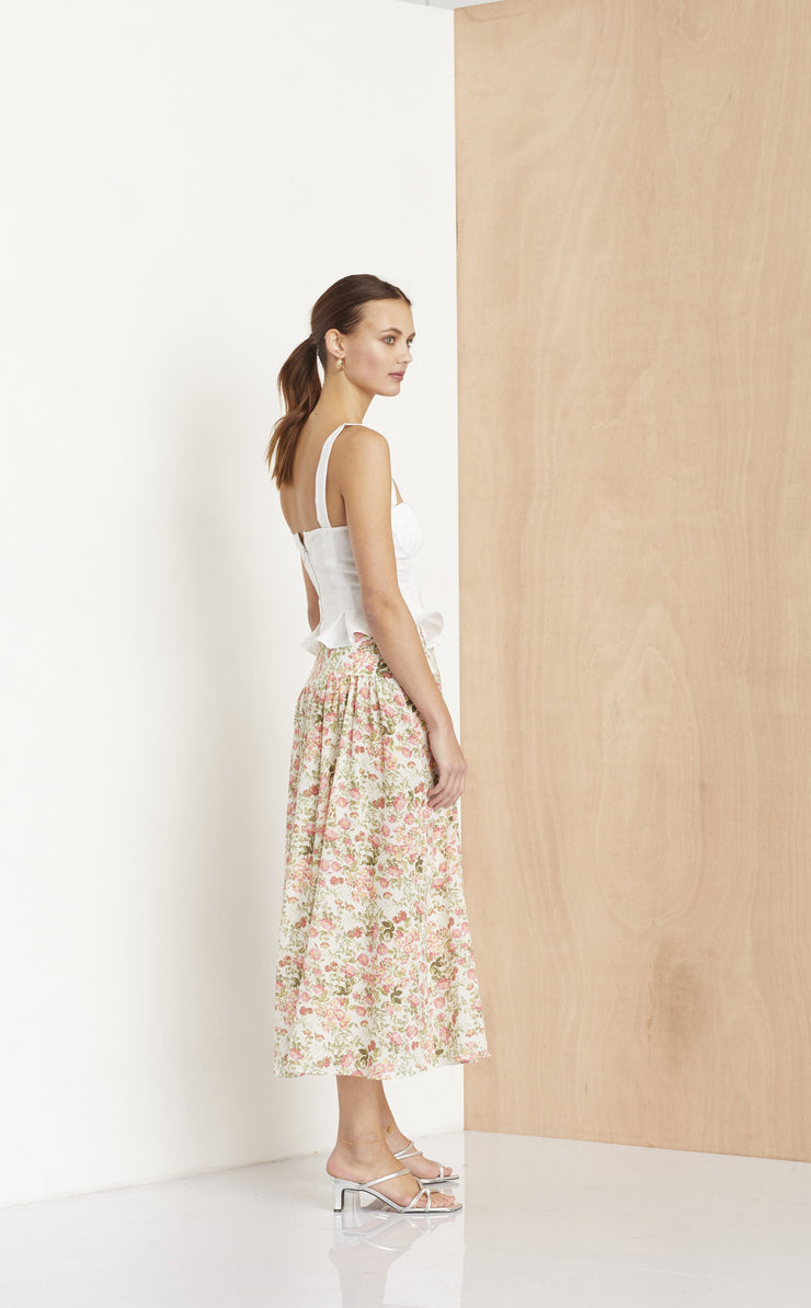 LE FOLLIES MIDI SKIRT - CAMELLIA PRINT