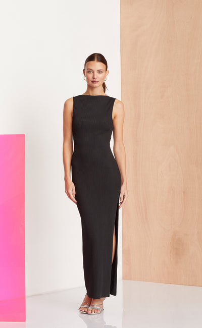 NOIR ET BLANC MIDI DRESS - BLACK b66d9421e