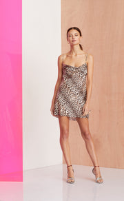 FELINE MINI DRESS - LEOPARD PRINT