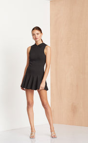 NOIR ET BLANC MINI DRESS - BLACK