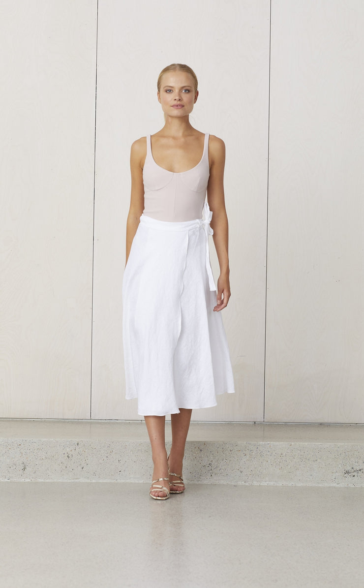 NATURAL WRAP SKIRT - WHITE