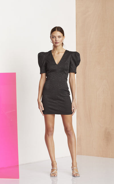 ZE'BRE SLEEVE DRESS - BLACK