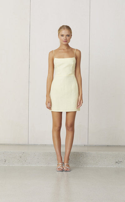 NATURAL TIE BACK MINI DRESS - BUTTER