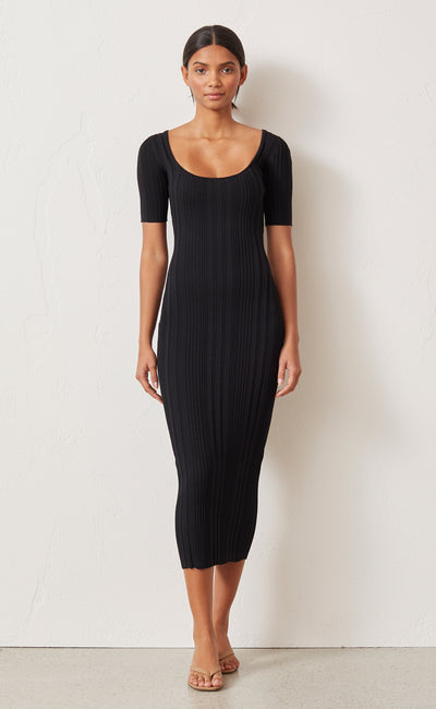 TOULOUSE KNIT MIDI DRESS - BLACK