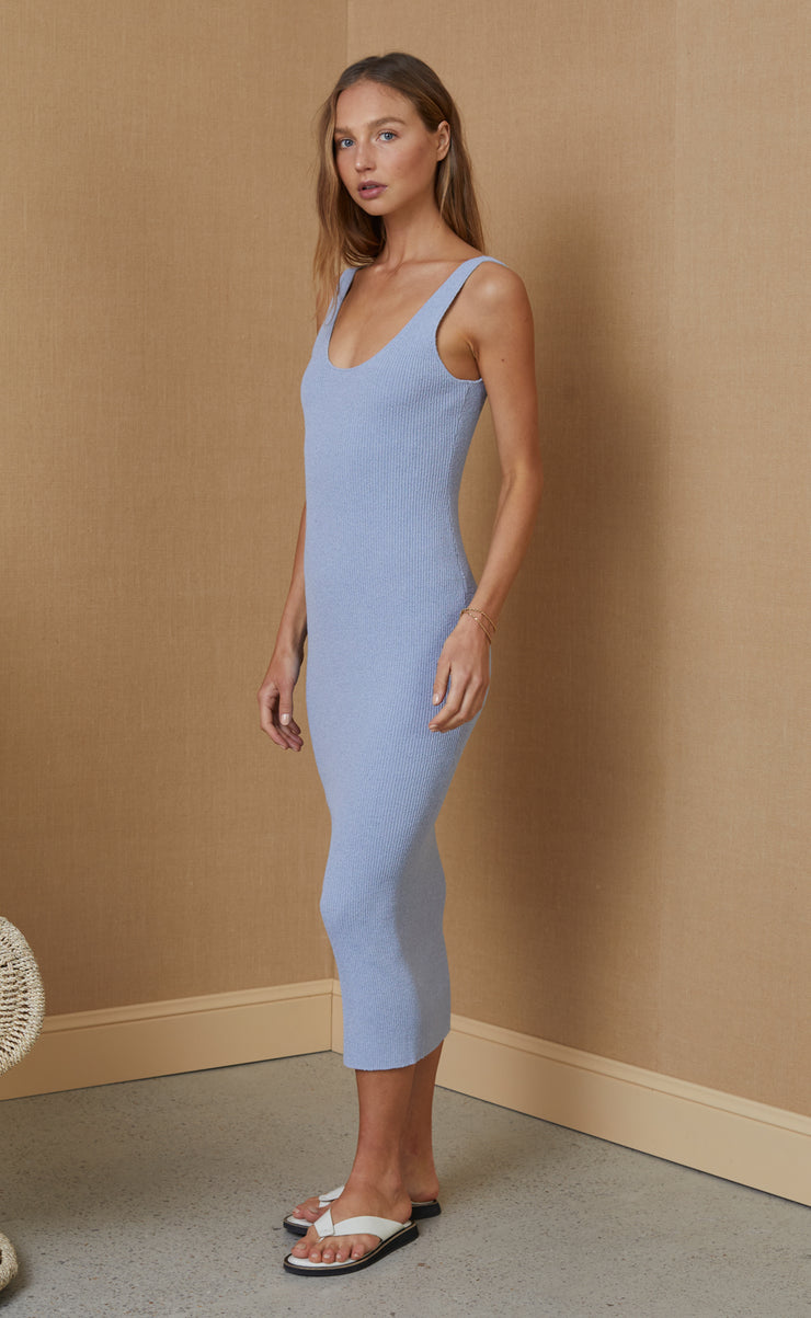 MIMI KNIT MIDI DRESS - SILVER BLUE