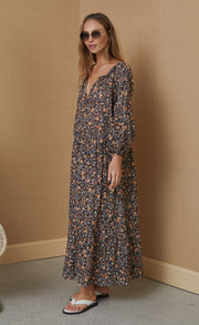 JANICE COTTON LONG SLEEVE MIDI DRESS - PRINT