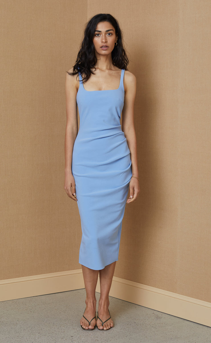 HANA TUCK MIDI DRESS - SKY BLUE