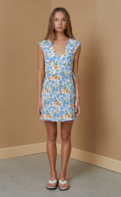 LA JOLIE WRAP MINI DRESS - PRINT