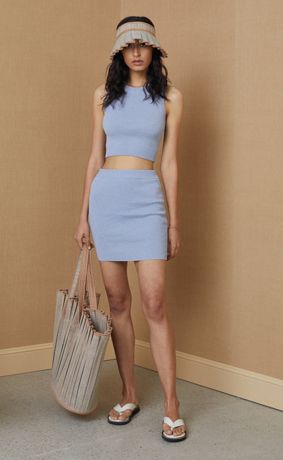 MIMI KNIT MINI SKIRT - SILVER BLUE