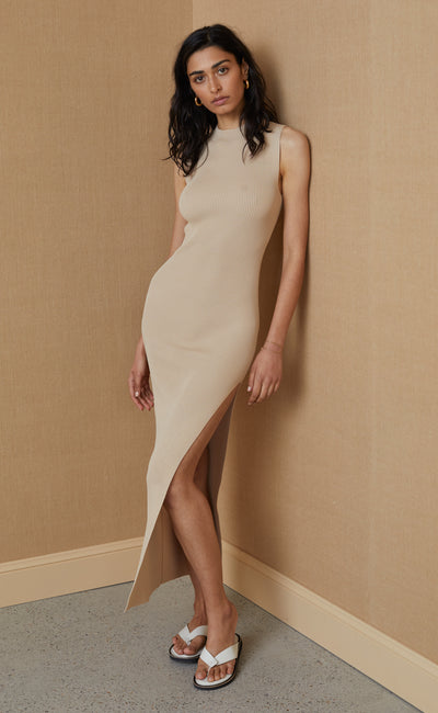 HARPER KNIT MIDI DRESS - LATTE