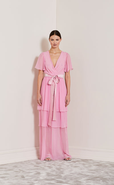 ENDLESS LOVE FIXED WRAP DRESS - PINK