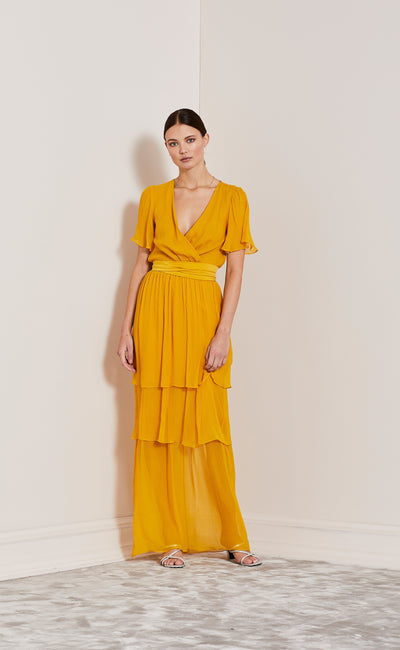 ENDLESS LOVE FIXED WRAP DRESS - MARIGOLD