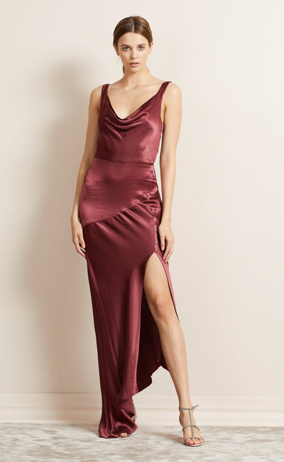 MOON DANCE COWL DRESS - WINE