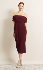 BE MINE OFF SHOULDER DRESS - BURGANDY