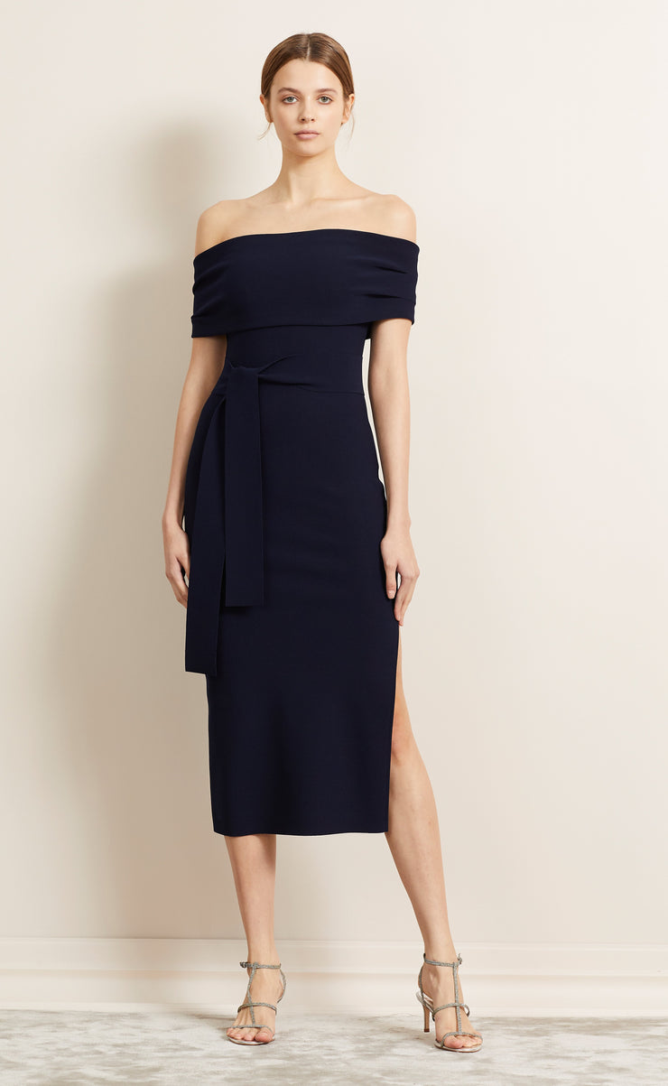 BE MINE OFF SHOULDER DRESS - NAVY