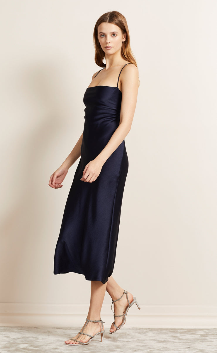 ALL NIGHT LACE UP DRESS - NAVY