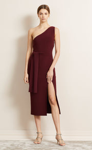 BE MINE ASYM DRESS - BURGANDY