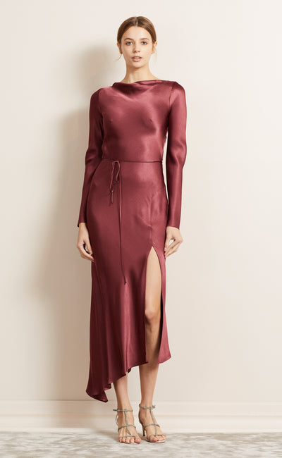 MOON DANCE L/S DRESS - WINE