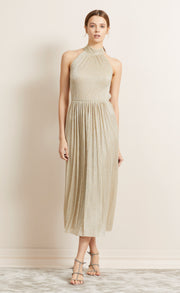 LADY SPARKLE HALTER DRESS - GOLD